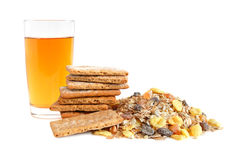 Apple juice, cracker and muesli Stock Images