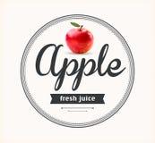 Apple juice. Detailed Vector label. Stock Photo