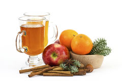 Apple juice, fresh fruits and spices Stock Photography