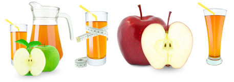 Apple juice, fruit and meter. Apple juice in a jug and a glass and meter on white background Royalty Free Stock Photography