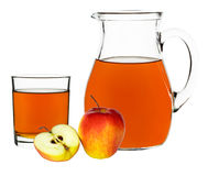 Apple juice in a glass and carafe Stock Photography