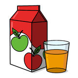Apple juice carton and a glass illustration Royalty Free Stock Photos