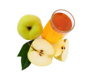 Apple juice in glass top view isolated Royalty Free Stock Photography