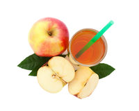 Apple juice in glass top view isolated Stock Images