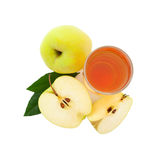 Apple juice in glass top view isolated Royalty Free Stock Photo
