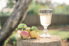 Apple juice in a glass on a wooden stand Stock Photo