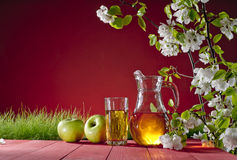 Apple juice and grass on a red background Stock Photography