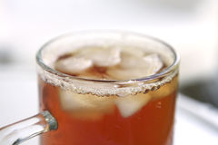 Apple juice inside big glass stock image