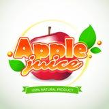 Apple juice label Blot and lettering on white background. Splash and blot design, shape creative vector illustration. Stock Photo