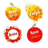 Apple juice label splash set design Royalty Free Stock Photo