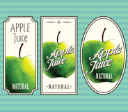 Apple juice labels set. For using in different spheres Royalty Free Stock Photography