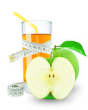 Apple juice and meter. On white background Royalty Free Stock Images
