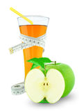 Apple juice and meter. On white background Stock Photo