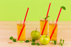 Apple juice and mint. Royalty Free Stock Photos