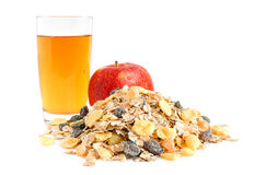 Apple, juice and muesli Royalty Free Stock Photography