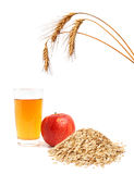 Apple, juice and oat flakes Stock Photo