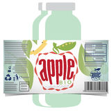 Apple juice product label. Editable presentation for a edible commercial product with label and bottle mock-up. The design targets natural apple juice Stock Image