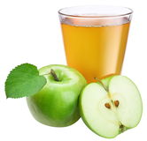 Apple juice with ripe apple Stock Photos