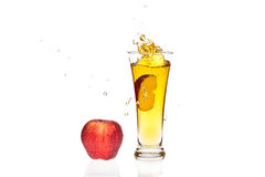 Apple juice splash Stock Photos