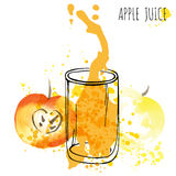 Apple juice splash vector watercolor illustration. Apple with splash and glass isolated on white background. Apple drink Stock Photography