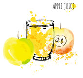 Apple juice splash vector watercolor illustration. Apple with splash and glass isolated on white background. Apple drink Royalty Free Stock Photo