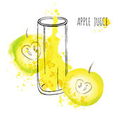 Apple juice splash vector watercolor illustration. Apple with splash and glass isolated on white background. Apple drink Royalty Free Stock Images