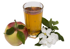 Apple juice still life. Glass of apple juice, apples and apple-tree flowers изолированняе on the white Stock Photography