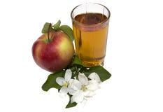 Apple juice still life. Glass of apple juice, apples and apple-tree flowers изолированняе on the white Stock Photos