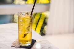 Apple juice. In a tall glass Stock Photography
