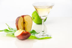 The apple juice on white background for decorate project. Royalty Free Stock Photos
