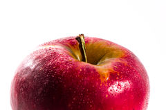 Apple juteux rouge lumineux portent des fruits dos de blanc d'isolement par nourriture fraîche de régime Photographie stock