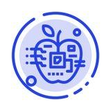 Apple, künstlich, Biologie, Digital, elektronische Linie Ikone der blauen punktierten Linie vektor abbildung