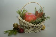 Apple kanelbrun vit stucken korg Fotografering för Bildbyråer