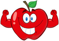 Apple-Karikatur-Maskottchen-Zeichen mit den Muskel-Armen stock abbildung