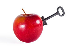 Apple with key. Red apple with old key Stock Photography