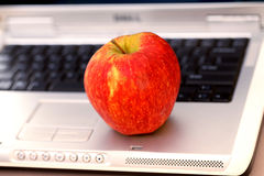 Apple on keyboard Royalty Free Stock Photo