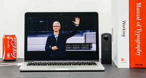 Apple Keynote with Tim Cook good bye hands end Keynote. PARIS, FRANCE - SEP 13, 2017: Minimalist creative room with Safari Browser open on MacBook Pro laptop Stock Images