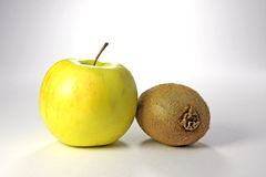 Apple and kiwi. Fruit very delicious and useful Stock Photo