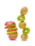 Apple and kiwi fruit on white background Stock Image