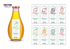Fresh juice realistic glass bottle with labels set. Apple, kiwi, pomegranate, orange, grape, carrot, peach and strawberry fresh juice packaging set. Realistic Stock Illustration