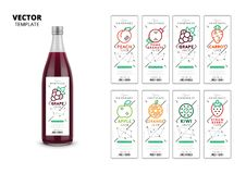 Fresh juice realistic glass bottle with labels set. Apple, kiwi, pomegranate, orange, grape, carrot, peach and strawberry fresh juice trendy packaging set Royalty Free Illustration