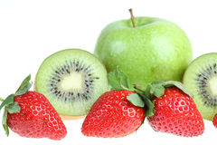 Apple ,kiwi and strawberry. Royalty Free Stock Photography