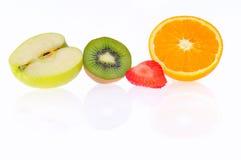 Apple, Kiwi, Strawberry and Orange. Stock Photos