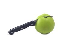 Apple and knife (2). Apple and knife isolated over white, deliciously and nourishing Royalty Free Stock Image