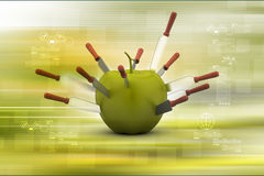 Apple with knife Stock Photography