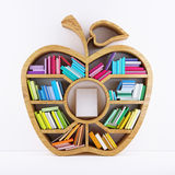Apple of Knowledge, Wooden Shelf with Multicolor Books Isolated on White Background Tablet inside Shelf. 