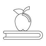 Apple książki szkoły symbolu cienka linia Zdjęcie Stock