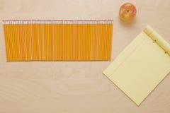 Apple, lápis, papel Foto de Stock Royalty Free