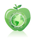Apple Label 100% natural eco friendly seal Stock Photos