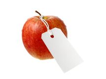 Apple with label Royalty Free Stock Photo